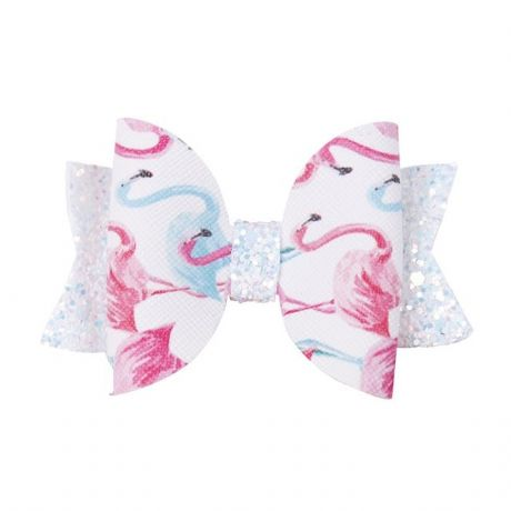 1 x LOVELY 3 INCH FLAMINGO LEATHER FABRIC HAIR BOW WITH ALLIGATOR CLIP